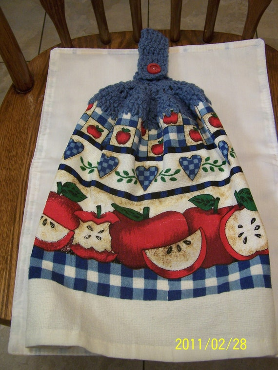 Country Apple and Squares Crochet Kitchen Towel