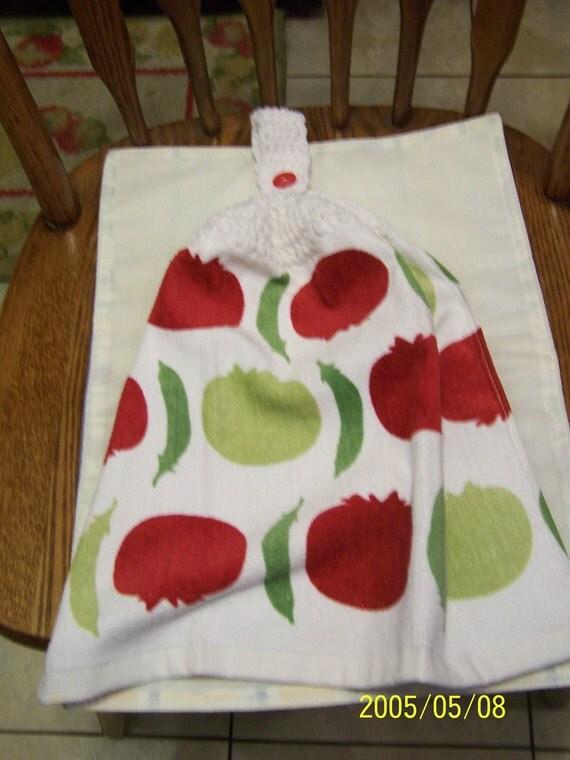 Tomato and Pea Crochet Top Kitchen Towel