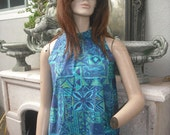 Fashions of HAWAII   Vivid Blue and Turquoise Tropical Print Dress SIZE/MEDIUM Made in  Hawaii  Luau Resort Party
