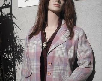 Vintage 1970s Plaid Jacket / Pink Jacket by Frank Lee of California