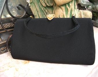 Vintage Evening Bag with Rhinestone Clasp, Dinner Bag, Prom Bag, Opera Bag, Formal Purse
