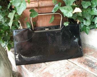 Vintage 1960s Purse, Top Handle, Black Patent Leather Handbag