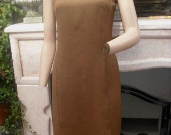 1960/70s Day Dress, Brown Shift Dress, Sheath Dress, Brown and Blue Dress, Sleeveless, 34 bust