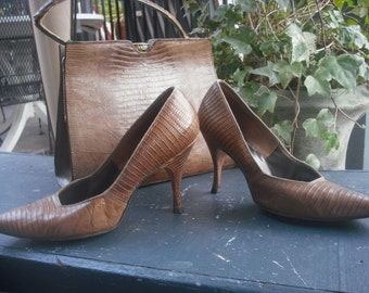 Vintage Pumps, 1950s/60s  Lizard Pumps,  Reptile High Heels,  Shoes by Natural Poise, Reptile Heels, Exotic Shoes or Heels Size 9.5