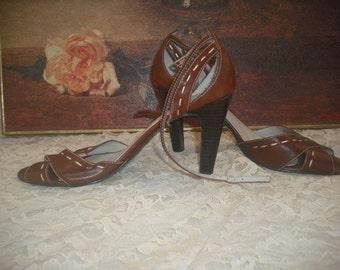 1980s Bandolino Ankle Strap Heels sz 8