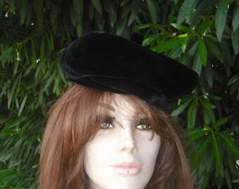 Vintage Black Velvet Hat / Melinda Original 1950s/60s Hat / Velvet Hat NOS Original tag