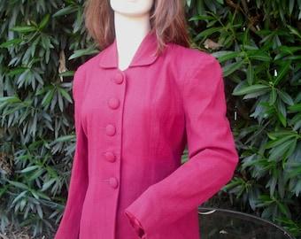Vintage 1940s Blazer/Jacket, Wool Jacket, Ladies Jacket, Burgundy, Wine, Size 8, Coat and Suit Industry Tag