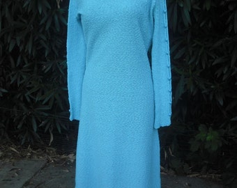 1970s Turquoise Knit Dress w/Cut Out Sleeves  MEDIUM