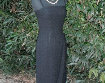 Vintage 1960s Little Black Dress, Wiggle Dress, Cocktail or Dinner Dress, Spaghettin Strap Dress, Small, Bust 32