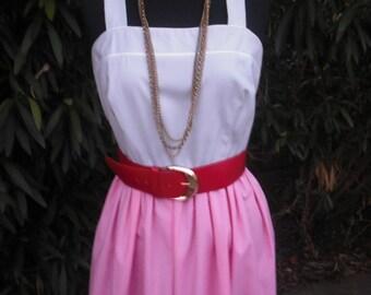 Vintage 70s Rockabilly Sun Dress. Jenni, Summer Dress, Picnic Dress, Resort Wear, Vacation, Gray and Pink Cotton/Poly Dress,  Size 7/8,