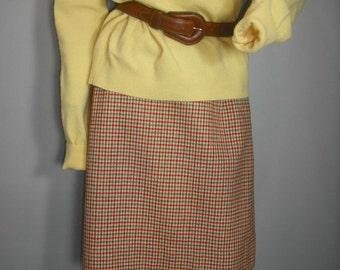 Vintage Tweed Pencil Skirt, Red and Gray Tweed Skirt, Secretary Pencil Skirt, Office Attire, 26 Waist