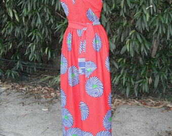 1970s Halter Dress by Carole King  Red Graphic