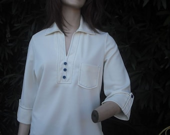 1970s Knit Blouse, Tunic Blouse, Hippie, Top w/three Quarter Sleeves, Ivory,  Lady Blair, Size Large