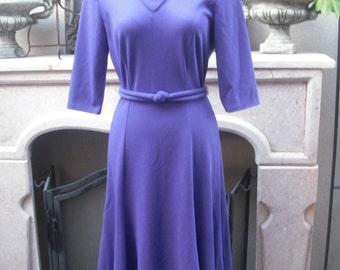 1980s  Purple Secretary Dress / Career Dress, Day Dress /  Petite  Size 8 by Melissa Petites