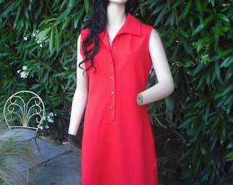 1970s Dress, Fritzi of California, Orange Shift Style Dress, Sleeveless Dress in a Red Orange or Fall Colors, bust 38, Large