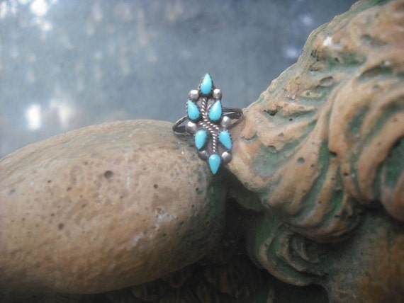Vintage Turquoise Ring, Boho, Summer Jewelry, Small Little Finger Ring, Childs Ring, Multi-Stone Turquoise Ring, Native American