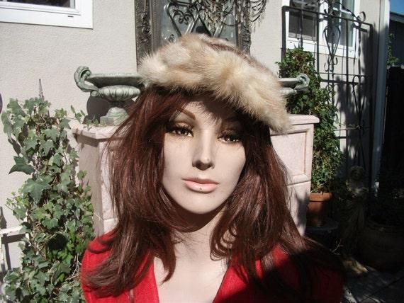 RESERVED Vintage 1960' Mink Hat / Pill Box Style Hat / Blonde Mink Fur Hat
