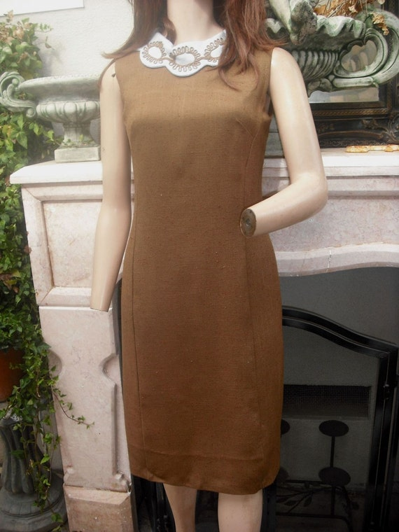 1960/70s Day Dress, Brown Shift Dress, Sheath Dress, Brown and Blue Dress, Sleeveless, 34 bust