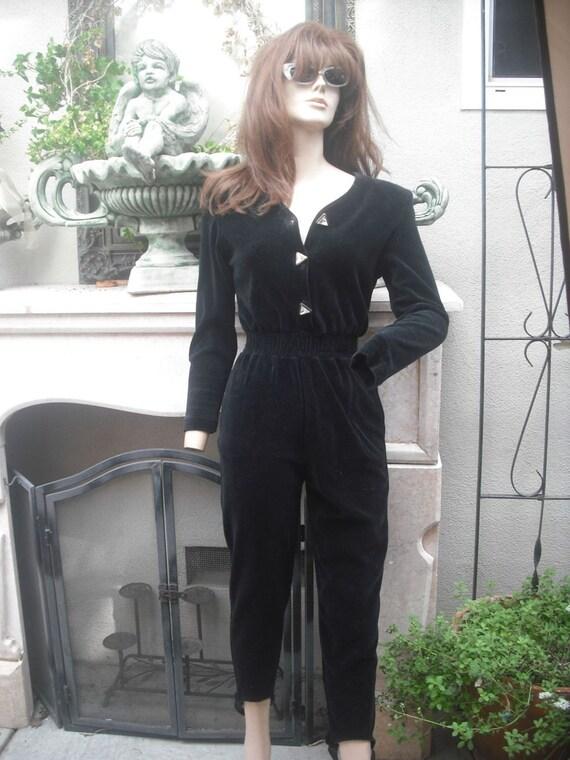1980s Black Velour Jumpsuit Small