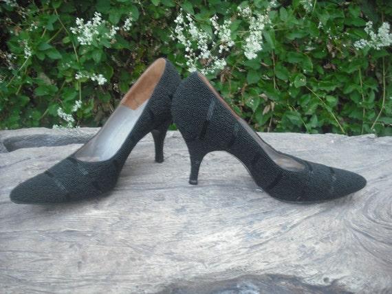 Vintage Pumps, Black Beaded Cocktail Pumps, Sexy High Heels, Evening Heels, Pointy Toe Pumps, Heels