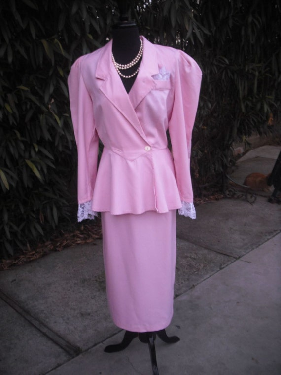 1980's PINK Power Suit w/Lace Accents and Peplum Skirt