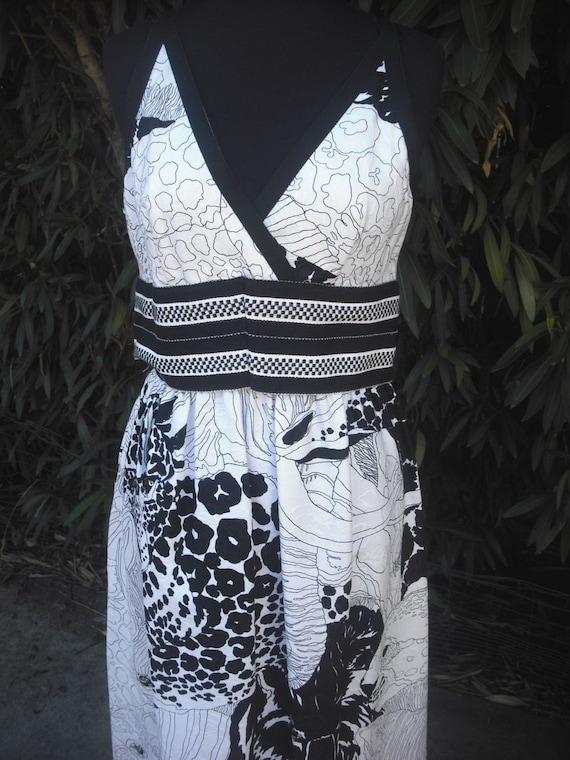 RESERVED 1970's Maxi Dress // Hostess Dress  // Animal Print //  Black and White Halter  Dress  size 8