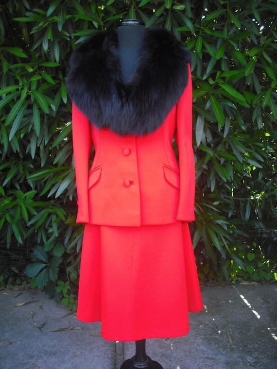 1970's Lilli Ann Suit w/Fur Collar  Lilli Ann Orange Knit Suit