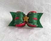 5/8 Dog Bow- Christmas Star Dog Bow