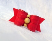 """DOG BOW- 5/8"""" Holiday Red Gold Dust Dog Bow"""
