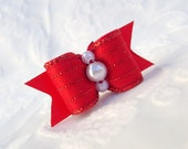 """DOG BOW- 5/8"""" Red Pearl Sparkle Dog Bow"""