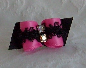 5/8 Pink and Black Frilly bow