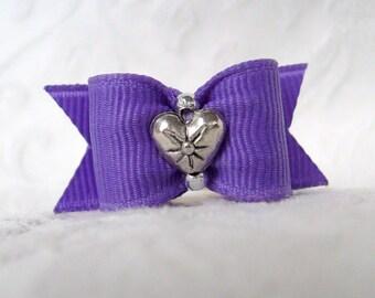 5/8  Purple Starburst Heart Bow