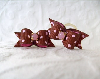 Brown and Pink Swiss Dot Maltese Bows