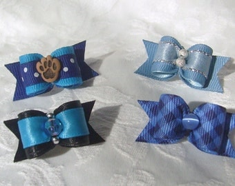 "5/8"" The Dog Gone Blues Dog Bow Set 4pc Set"