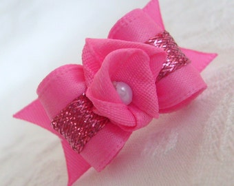5\/8  Pink Flower Bud Dog Bow