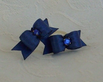 3/8 Simply Satin Maltese bows Navy