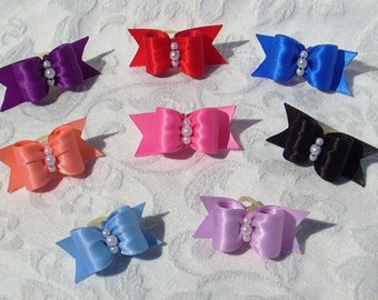 DOG BOWS- 5/8 Simply Satin Puppy Dog Bow Collection