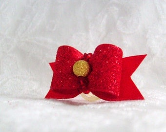 DOG BOW - 5/8 Holiday Sparkle Dog Bow in Ruby
