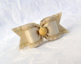 """DOG BOW- 5/8"""" Holiday Sweetheart Dog Bow in Pale Gold"""