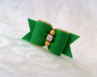 "DOG BOW- 5/8""  Gold & Emerald Dog Bow"