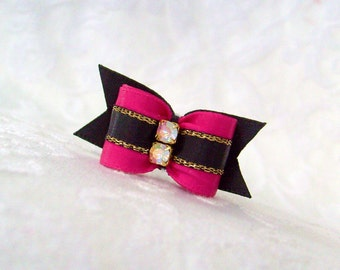 "DOG BOW- 5/8""  Puppy Lux Bow in Fascinating Fuchsia"