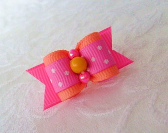"DOG BOW-  5/8"" Orange Cream & Pink Swiss Dot Dog bow"