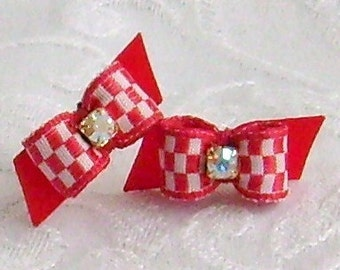 3/8  Red and White Checker Maltese Bows