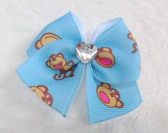 Sweetheart Dog Bow in Monkey business Blue