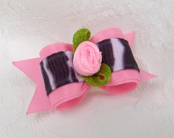 5\/8 Pink Zebra Bow