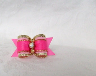 "5/8"" Pink Gold Sparkle Bow"