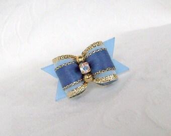 5/8 Blue Gold Sparkle Bow