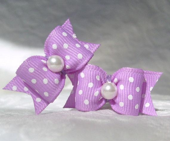 Dog Bows- Lilac Polka Dot Pair