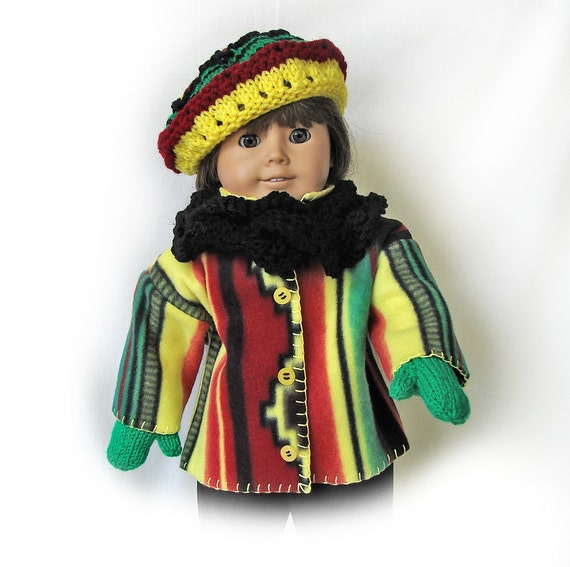 Fleece Doll Jacket and Matching Beret, Scarf and Mittens - 18 inch Doll - American Girl Doll