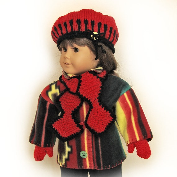 Doll Fleece Jacket, Knit Hat, Scarf and Mittens Ensemble / Red, Black Yellow / 18 inch doll